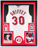 Ken Griffey Jr. Signed Reds 34x42 Custom Framed Jersey Display (UDA Hologram) at PristineAuction.com