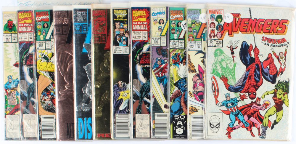 Lot of (12) The Avengers Marvel Comic Books Issues Ranging from #22 - #366 at PristineAuction.com
