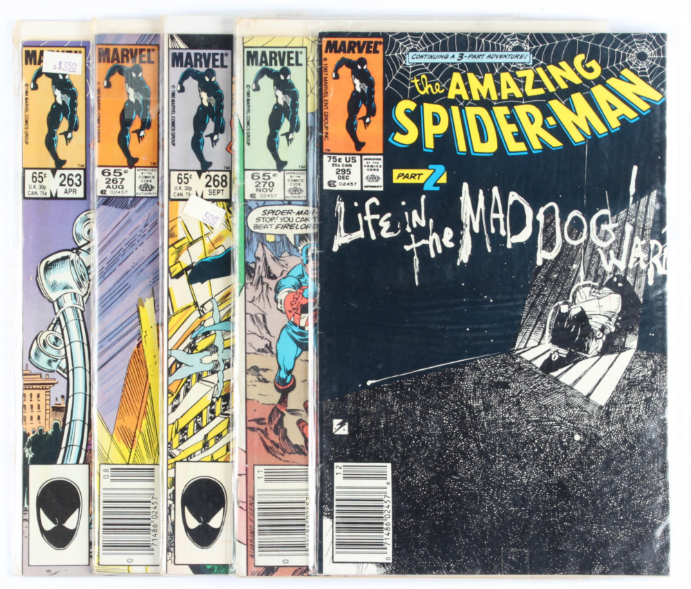 Lot of (5) Amazing Spider-Man Marvel Comic Books Issues Ranging from #263 - #295 at PristineAuction.com