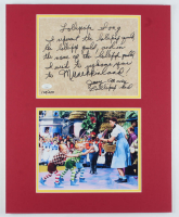 """Jerry Maren Signed LE """"Wizard of Oz"""" 16x20 Custom Matted """"The Lollipop Guild Song"""" Hand-Written Lyric Sheet Display (JSA COA) at PristineAuction.com"""