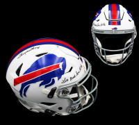 "Thurman Thomas Signed Bills Full-Size Authentic On-Field SpeedFlex Helmet Inscribed ""Lets Break Some Tables"" (Radtke COA) at PristineAuction.com"