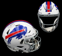 "Jim Kelly Signed Bills Full-Size Authentic On-Field SpeedFlex Helmet Inscribed ""Lets Break Some Tables"" (Radtke COA) at PristineAuction.com"