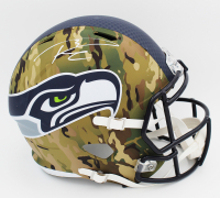 Russell Wilson Signed Seahawks Full-Size Camo Alternate Speed Helmet (Beckett COA) at PristineAuction.com