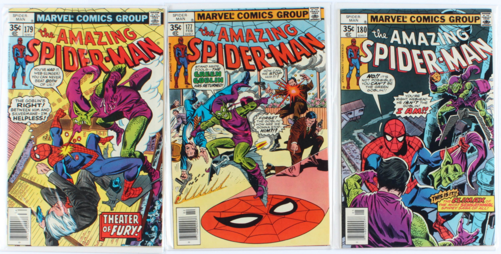 Lot of (3) Amazing Spider-Man Marvel Comic Books Issues Ranging from #177 - #180 at PristineAuction.com
