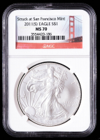 2011(S) American Silver Eagle $1 One Dollar Coin - Struck at San Francisco Label (NGC MS70) at PristineAuction.com