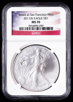 2011(S) American Silver Eagle $1 One Dollar Coin - U.S. Flag Label (NGC MS70) at PristineAuction.com