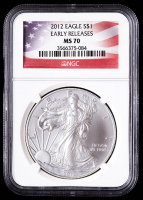 2012 American Silver Eagle $1 One Dollar Coin - U.S. Flag Label (NGC MS70) at PristineAuction.com