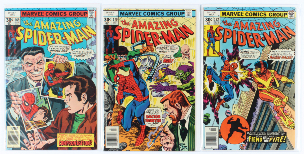 Lot of (3) Amazing Spider-Man Marvel Comic Books Issues Ranging from #169 - #172 at PristineAuction.com