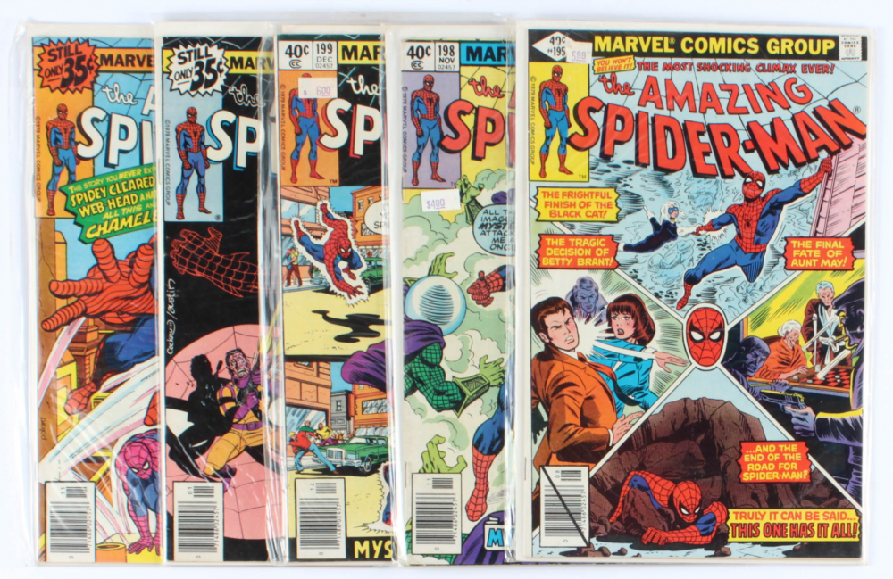 Lot of (5) Amazing Spider-Man Marvel Comic Books Issues Ranging from #186 - #199 at PristineAuction.com
