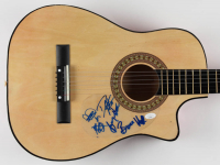 "REO Speedwagon 38"" Acoustic Guitar Band-Signed by (5) with Kevin Cronin, Neal Doughty, Bruce Hall, Dave Amato & Bryan Hitt (JSA COA) at PristineAuction.com"