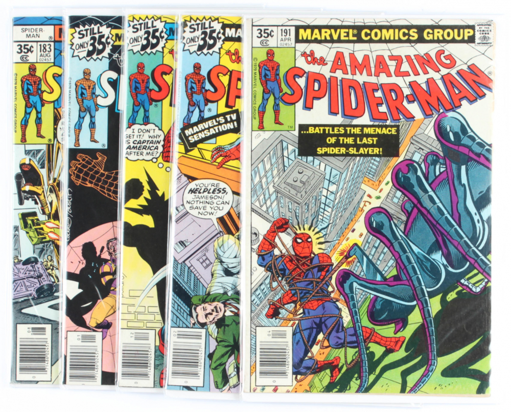 Lot of (5) Amazing Spider-Man Marvel Comic Books Issues Ranging from #183 - #191 at PristineAuction.com