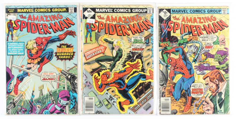 Lot of (3) Amazing Spider-Man Marvel Comic Books Issues Ranging from #153 - #170 at PristineAuction.com