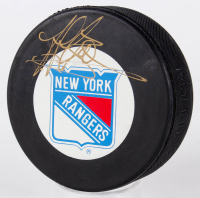 Jeff Beukeboom Signed Rangers Logo Hockey Puck (JSA COA) at PristineAuction.com