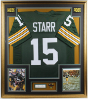 Bart Starr Signed 33x37 Custom Framed Cut Display with Jersey & Super Bowl II Champions Pin (PSA LOA) at PristineAuction.com