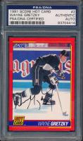 Wayne Gretzky Signed 1991-92 Score Hot Cards #2 (PSA Encapsulated) at PristineAuction.com