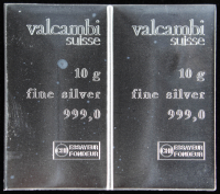 Lot of (2) 10 Gram Silver Valcambi Mint Bullion Bars (Uncut) at PristineAuction.com