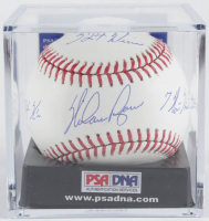 Nolan Ryan Signed OML Baseball With Multiple Career Statistics Inscriptions With Display Case (PSA COA - Graded 10) at PristineAuction.com
