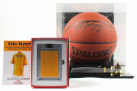 Lot of (2) Kobe Bryant Items With Signed NBA Basketball WIth DIsplay Case & 1999 Game Worn Warm Ups Piece (Beckett LOA & PSA Hologram) at PristineAuction.com
