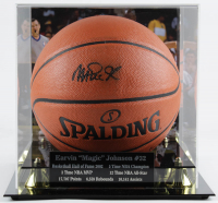 Magic Johnson Signed NBA Game Ball Series Basketball with Photo Display Case (Beckett Hologram) at PristineAuction.com