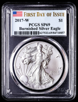 2017-W American Silver Eagle $1 One Dollar Coin - Burnished, First Day of Issue (PCGS SP69) at PristineAuction.com