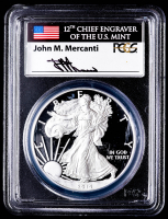 2014-W American Silver Eagle $1 One-Dollar Coin - First Strike - John Mercanti Signed Label (PCGS PR70DCAM) at PristineAuction.com