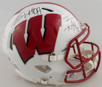 J.J., T.J. & Derek Watt Signed Wisconsin Badgers Full-Size Authentic On-Field Speed Helmet (JSA COA & Watt Hologram) at PristineAuction.com