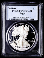 2004-W American Silver Eagle $1 One Dollar Coin (PCGS PR70 Deep Cameo) at PristineAuction.com