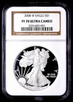 2008-W American Silver Eagle $1 One Dollar Coin (NGC PF70 Ultra Cameo) at PristineAuction.com