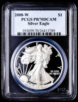 2008-W American Silver Eagle $1 One Dollar Coin (PCGS PR70 Deep Cameo) at PristineAuction.com