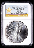 2013-(W) American Silver Eagle $1 One Dollar Coin - Early Releases, Struck at West Point (NGC MS70) - West Point Star Label at PristineAuction.com