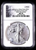 2014-(W) American Silver Eagle $1 One Dollar Coin - First Releases, Struck at West Point (NGC MS70) (ALS Label) at PristineAuction.com
