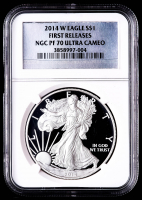 2014-W American Silver Eagle $1 One Dollar Coin - First Releases, Silver Foil Label (NGC PF70 Ultra Cameo) at PristineAuction.com