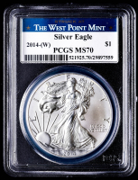 2014-(W) American Silver Eagle $1 One Dollar Coin Struck at West Point Label (PCGS MS70) at PristineAuction.com