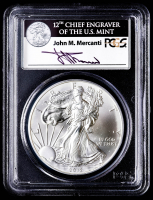 2012-W American Silver Eagle $1 One-Dollar Coin - First Strike, Struck at West Point Mint - John Mercanti Signed Label (PCGS MS70) at PristineAuction.com