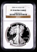 2002-W American Silver Eagle $1 One Dollar Coin (NGC PF70 Ultra Cameo) at PristineAuction.com