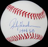 "Rickey Henderson Signed OML Baseball Inscribed ""1406 S.B."" (Steiner Hologram) at PristineAuction.com"