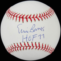 "Ernie Banks Signed OML Baseball Inscribed ""HOF 77"" (JSA COA) at PristineAuction.com"