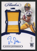 Justin Jefferson 2020 Panini Flawless Collegiate Rookie Patch Autographs Sapphire #107 RC #13/15 at PristineAuction.com