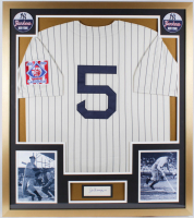 Joe DiMaggio Signed Yankees 32x36 Custom Framed Cut Display with 1939 Rookie Yankees Throwback Home Jersey (JSA LOA) at PristineAuction.com