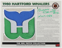 """Bobby Hull Signed Whalers 1980 10x13 NHL Collection Commemorative Patch Card Inscribed """"HOF 1983"""" (YSMS COA) at PristineAuction.com"""