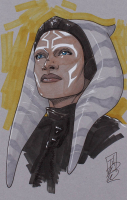 "Tom Hodges - Ahsoka Tano - ""Star Wars"" - Signed ORIGINAL 5.5x8.5 Drawing on Paper (1/1) (PA COA) at PristineAuction.com"