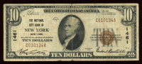 1929 $10 Ten Dollar U.S. National City Bank Currency Brown Seal Bank Note at PristineAuction.com