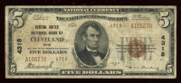 1929 $5 Five Dollar U.S. Central United National Bank Currency Brown Seal Bank Note at PristineAuction.com
