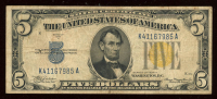 1934-A $5 Five Dollar U.S. National Currency Gold Seal Bank Note at PristineAuction.com