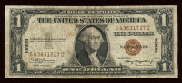 "1935-A $1 One-Dollar ""HAWAII"" World War II Emergency Brown Seal Silver Certificate at PristineAuction.com"