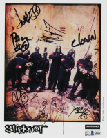 Sliptknot 8x10 Photo Band-Signed by (9) with Corey Taylor, Shawn Crahan, Craig Jones, Mick Thomson, Chris Fehn, Jim Root, Joey Jordison, Sid Wilson, Paul Gray (Beckett LOA) at PristineAuction.com