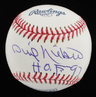 "Phil Niekro Signed Hall of Fame Logo OML Baseball Inscribed ""H.O.F.-97"" (JSA COA) at PristineAuction.com"