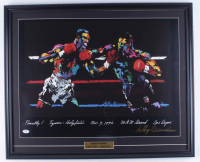 "LeRoy Neiman Signed 23x28 1996 Custom Framed ""Tyson vs. Holyfield"" Original Vintage Fight Lithograph Display (PSA COA) at PristineAuction.com"