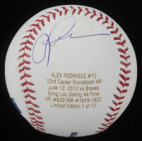 Alex Rodriguez Signed LE Career Stat OML Baseball (JSA COA) at PristineAuction.com