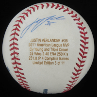 Justin Verlander Signed LE OML Career Stat Engraved Baseball (JSA COA) at PristineAuction.com